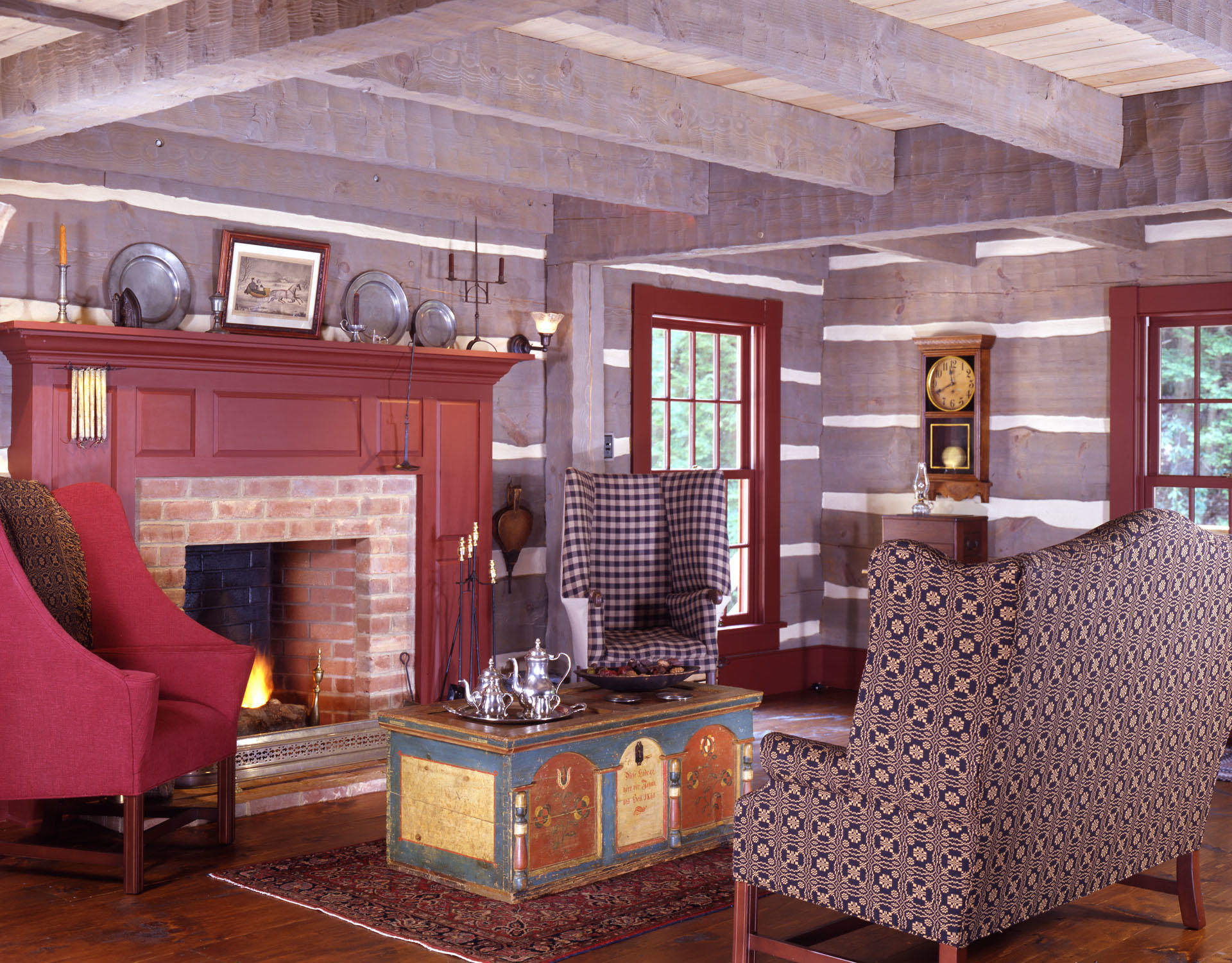 Knisely modern hand hewn log home gallery hearthstone homes for Log cabin interior paint colors