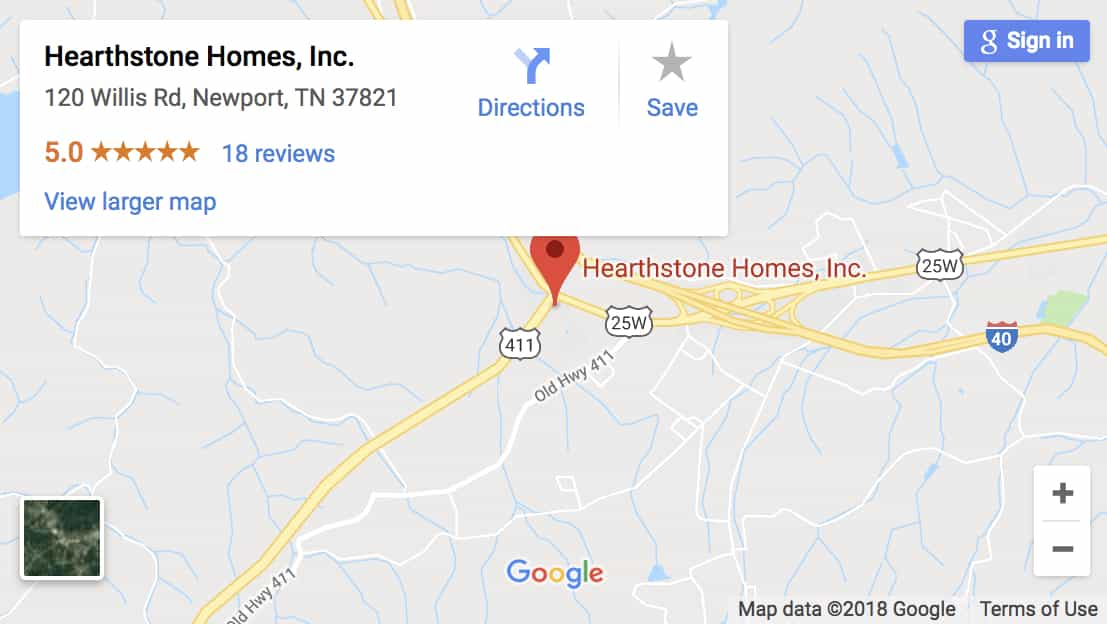 Map showing Hearthstone Log Homes location Hearthstone Homes 120 Willis Rd, Newport, TN 37821-7910 865-397-9425